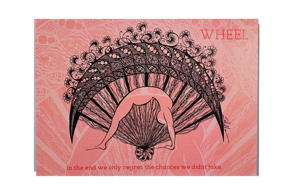 YOGA Card WHEEL Pose  - 5x7 from Original Ink Drawing, Home Decor, Yoga Studio Decor