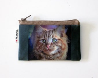Custom Cat portrait coin purse - Best gift for pet owners - Cat lovers - personalized coin purse with photo of your dog cat pet