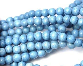 6mm Denim Blue Wood Beads -16 inch strand