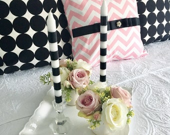 A Pair of Striped Candle, Black and White Candle, Candle