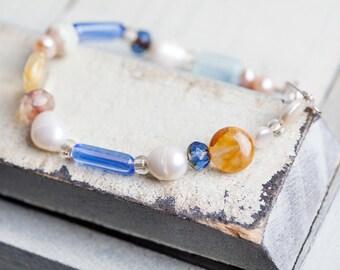 Bracelet, Beach Boho, Gift for Her, Freshwater Pearl, Citrine, Beach Bracelet, Beach Wedding, Gift for Mom, Pastel,  One of a Kind