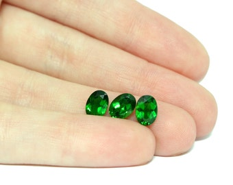 Diopstase Faceted Stones, 7x5 Set of 3