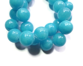 Sky Blue Jade - 12mm Round Bead - 34 beads - Full Strand - aqua stone