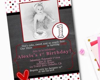 SweetHeart Birthday Invitation, Valentines Day Party Invitation, Valentines Day Birthday Invitation, Valentines Birthday Party Printable