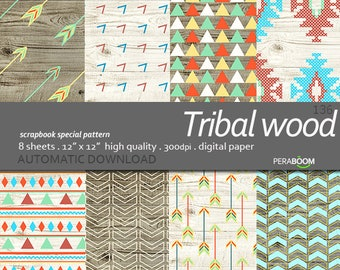 Geometric Painted Wood Grain Digital Paper, Geometric Wood Scrapbook Paper Digital, Tribal wood 136