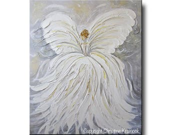 UPGRADE TRACY Art Abstract Angel Painting White Grey Gold Home Decor Gift Wall Art Home Decor Acrylic Painting Spiritual- Christine