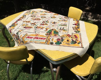 "NEW MEXICO--Unwashed 1940s Heavy Cotton Souvenir Tablecloth Square Shape 50"" x 47"""