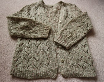Vintage lacey mohair cardigan green with pink & white flecks M