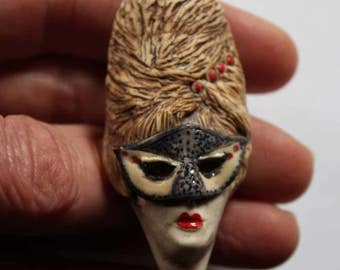 Porcelain Brooch Woman Carnival Masquerade