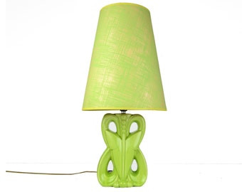 Table Lamp, Mid century Modern, Ceramic, chartreuse, lime, Retro, tall shade, Vintage Beauty