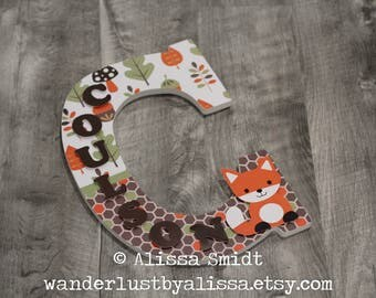 Echo Woodland Forest Animal Theme Letter - 14 Inch Size Large Nursery Letter with Name Down the Side - Custom Nursery Wooden Letter