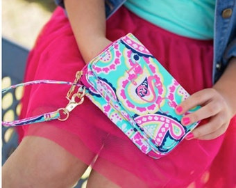 Monogrammed Wristlet PAISLEY  Wallet with Strap iPhone Holder Embroidered Wristlet Monogrammed Wristlet