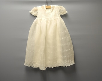 1920's Ivory Cotton Lace Baby Girl Christening Gown, Vintage Christening Gown, Vintage Baby Clothes, Size 6 Months
