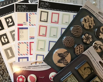 Scrapbook supplies SALE 12 items Buttons, Stickers , Stamps 85% off