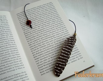 Guinea Fowl feather bookmark black & white, handmade by Federkram