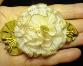 Reserved For Linda Sweet Gold Edged Rose Antique Silk Ribbon Flower