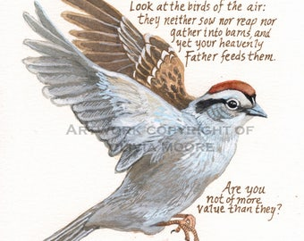 "Christian Wall Art Print - Bible Verse Art - Sparrow painting with Christian scripture - Luke 6 - Christian Home Decor - 8 1/2""x11"""