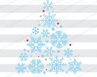 Snowflake Christmas Tree SVG, PNG, pdf, jpg, ai, dxf, Cut file, Cricut, Silhouette cutting file, Clip art, Vector, Instant Download