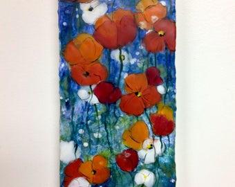 Original Encaustic Poppy Painting - Floral Painting Poppies - Encaustic Art - KlynnsArt