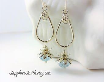 BABY BLUES Luxe Aquamarine Earrings, Genuine Beryl Gemstone, Bali Sterling Silver Earrings, March birthstone jewelry