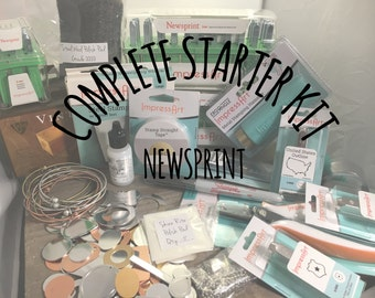 Newsprint: Complete Starter Kit for Bracelet Making, Hand Stamped Jewelry Making Starter Kit, Metal Alphabet Set, Hammer, Hole Punch, Block