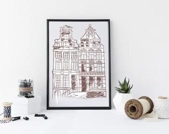 Amsterdam Art Print, art print, amsterdam buildings, Amsterdam, ideal gift