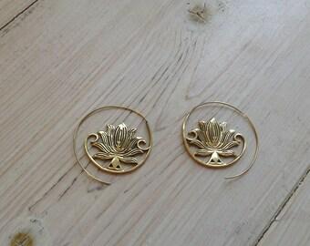 Indian Lotus brass/silver earrings