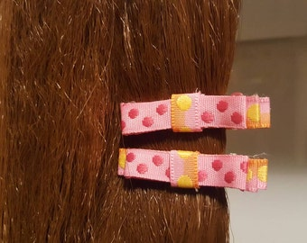 Princess Pink Spotted Hair Bows