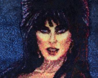 Elvira, Mistress of the Dark | Handmade One of a Kind Rug | Cassandra Peterson | Movie Macabre | Latch Hook Rug