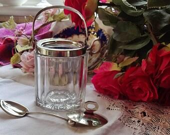 Preserve Pot, Vintage Jam Pot, Cut Glass Vintage Breakfast Conserve Pot, Breakfast In Bed, Honney Pot, EPNS Vintage Country Chic, Bed Tray