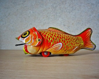 Tin Toy Fish, Friction Vintage Toy, Toy Fish Eating Another Fish, Not for Children, Collectors Tin Toy
