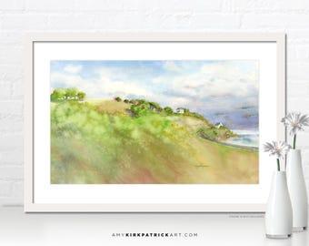 Jersey Shore UK Painting, Landscape Art Print, Landscape Greeting Cards, Original Landscape Watercolor, Landscape Wall Art, Jersey Shore UK
