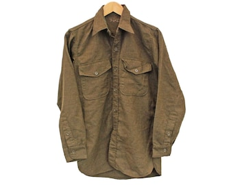 "Vintage Wool Shirt Military Green Army - S 36"" (26115)"