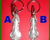 KEY FOBS Rings Vintage Silver Plate, Keychains, Dual Rings, Choice, Spoon Fork Handle, Silverplate