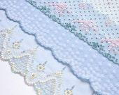 Light Blue Lace Grab Bag, Blue Floral Lace, Dolls Dresses, Upcycling, Lace Crafts, Costumes, Lingerie, Textile Art