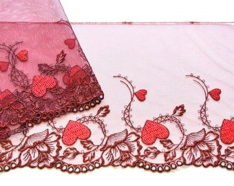 Red Hearts and Roses Lace Trim, Sparkly Red Rose Trim, Embroidered Roses Trim, Lingerie, Dolls, Red Ballet Costume, Metalic Red