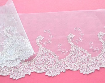 White Lace Trim, Leaf Hearts Design Lace,  Wedding Lace, Bridal Veil, Wedding Gown, Lace Decor, Lace Crafts, Historical Costume