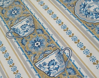 Vintage 1960s Kitchen Wallpaper Roll Blue Teacups Saucers White Tan Delft