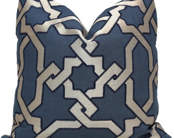 Schumacher Cordoba Embroidery Indigo Trellis Pillow Cover 18x18, 20x20 or 22x22, 24x24, Eurosham, lumbar pillow, throw pillow, accent pillow