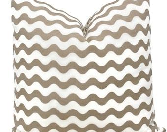 Schumacher Studio Bon Indoor Outdoor Sand Ric Rac Pillow Cover, Square Lumbar or Eurosham, Schumacher