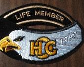 Vintage HARLEY DAVIDSON Appliques Patches (2) Motorcycle Biker Hog Eagle Life Member 1997