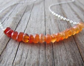 Carnelian Necklace, orange gemstone, ombre necklace, swing necklace, layering
