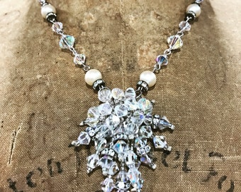 Vintage OOAK Beautiful Bridal Necklce Crystals and Pearls