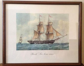 Vintage Watercolor Framed Print - Antoine Roux Golden Age of the Sailing Ships  Brick Les bons amis