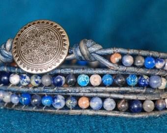 Boho Blue Leather Wrap Bracelet - Navy Blue Leather Bracelet - Blue Wrap Bracelet - Blue (B351)