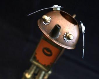 Tiny Bot - found object robot sculpture assemblage by Cheri Kudja with Bitti Bots