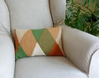 Crochet pillow geometric pillow harlequin pillow crochet cushion block harlequin cushion graphic pillow diamond pillow color block cushion