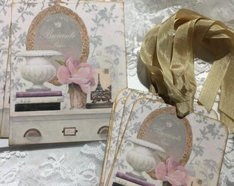 Stationery Set Shabby Chic Apartment ( 10 piece Set ) Notecards, Gift Tags, Greeting Cards, Gift Cards, Gift Items