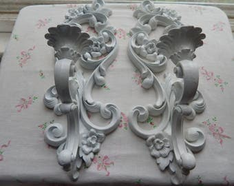 French Inspired Pair of 1960's Shabby Cottage Candle Sconces Candle Holder Hollywood Regency