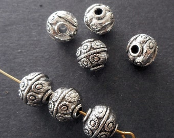 10pcs-10mm silver tone round beads, Antique silver tone round metal beads